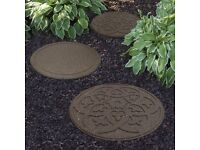 Garden Stepping Stones Ornamental Path Eco Friendly Weatherproof Recycled Rubber with Scroll Design