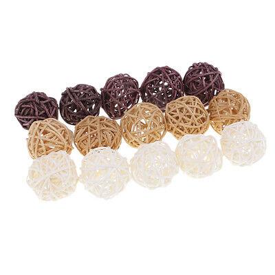 15pcs Handmade Wicker Rattan Balls,Garden,Wedding,Party Decorative Craft DIY ()