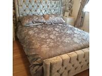 Silver crushed velvet kingsize bed