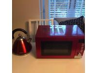 Post box red matching kettle and microwave