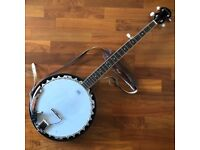 Ashbury 5-string banjo, closed-back, with Shadow pickup bridge, strap and padded case