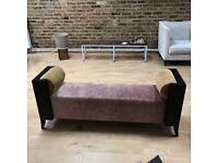 Stylish bench In pink and gold velvet material with Blackwood ends.