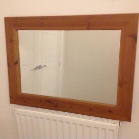 Pine Framed Wall Mirror.