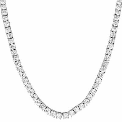 14k White Gold Flooded Out Iced Lab Diamond 1 Row SILVER Chain Tennis Necklace