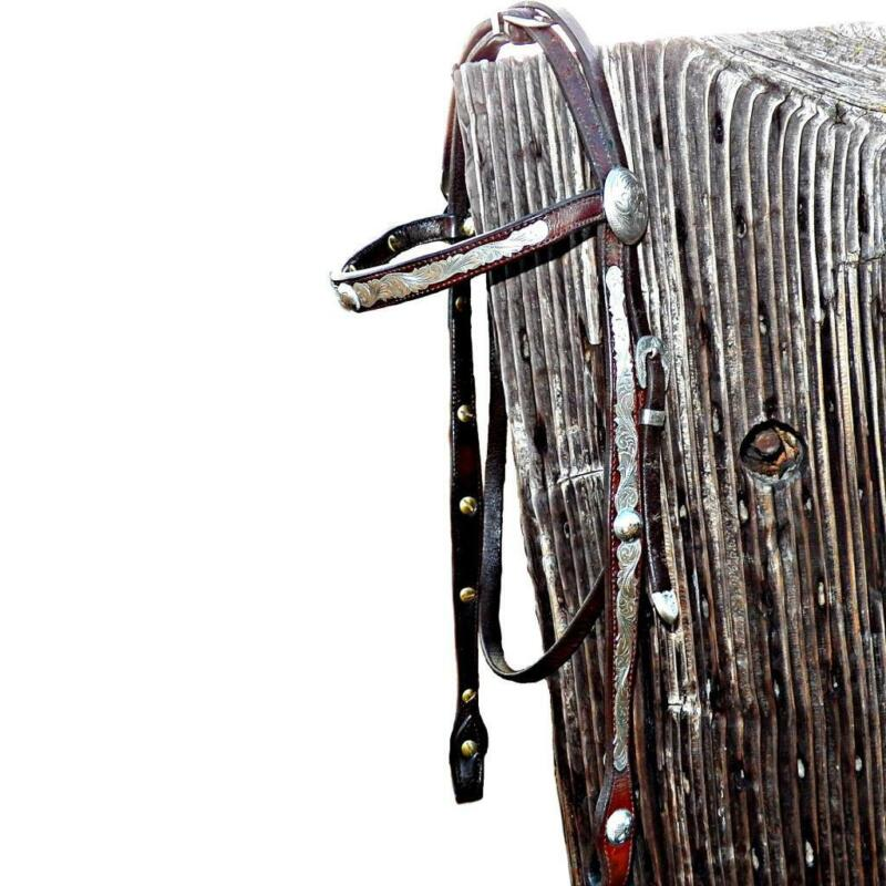 Vintage Fleming Sterling Silver Bridle Leather Browband Western Show Headstall
