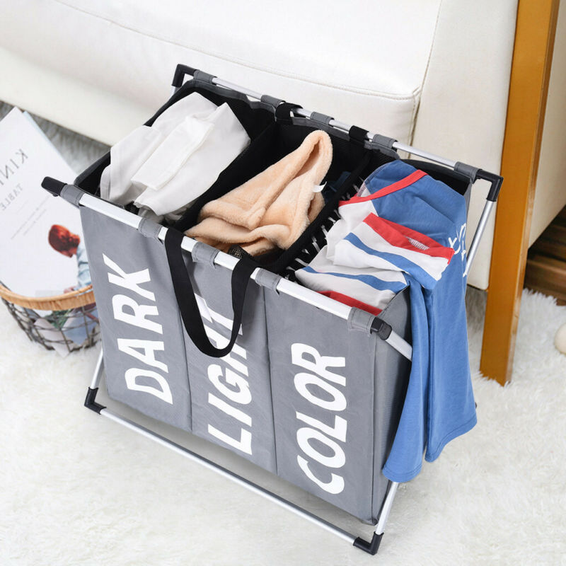 Laundry Basket 3 Sections Foldable Hamper Divided Dirty Clot