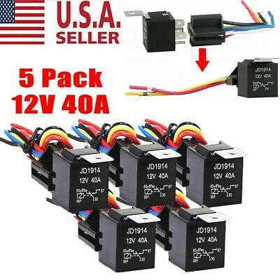 5pack 3040 Amp 12v 5-pin Spdt Automotive Relay With Wires Harness Socket Set