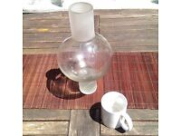 Large Glass Vase - Tall, spherical with extended vertical base and opening