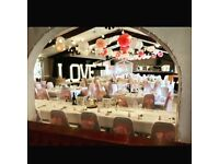 venue stylist/hire specialists with *chair covers*sashes*centre pieces*post box*5ft LED LOVE letters