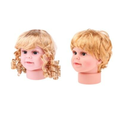 Set Of 2x Girl Boy Mannequin Manikin Head Wigs For Glasses Hat Display S