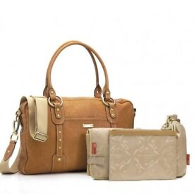 Storksak Tan Leather Changing Bag & Buggy Clips