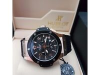 New Mens boxed black canvas on rubber strap hublot fusion with black face rose gold casing with aut