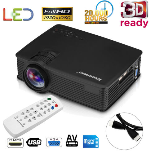 3D Portable LED Projector HD 1080P 7000 Lumens HDMI/USB/SD/AV Home Theater Video