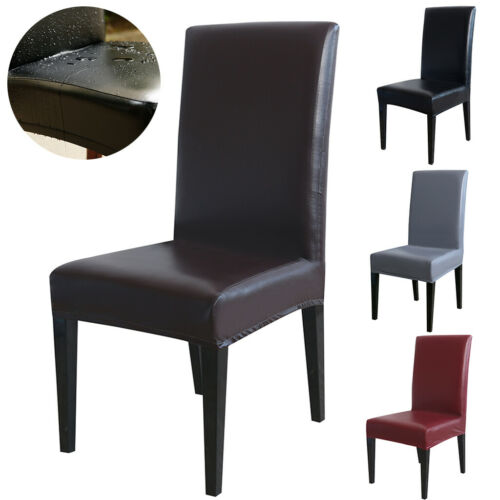 PU Leather Dining Chair Covers Waterproof Spandex Slipcovers