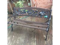 Garden bench with metal ends