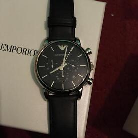 Men's Genuine Black Leather Chronograph Watch