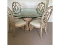 Stunning Bernhardt round glass dining table and 4 chairs