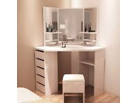 White Wooden Corner Dressing Table With Mirror and Stool - Fairy tale!