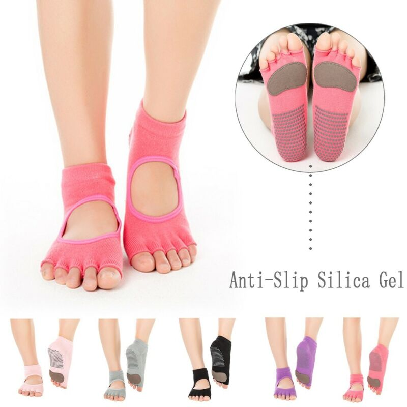 Open Toe Women Anti Slip Finger-separated Yoga Socks Sport B