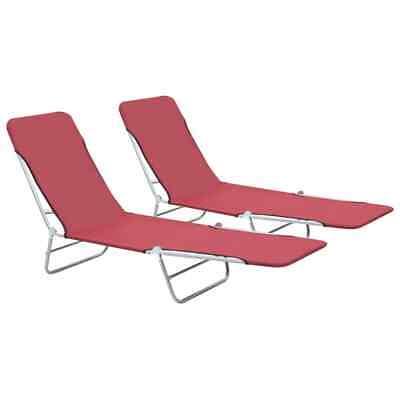 vidaXL 2x Foldable Sunloungers Red Outdoor Garden Camping Recliner Day Bed