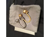 McQueen gold and sliver skull key ring