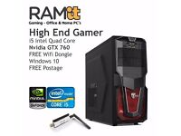 High End Gaming PC- i5 Quad Core Intel and Nvidia Graphics Card GTX760 2GB