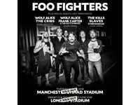4x Foo Fighters standing tickets, Etihad Stadium Manchester, Tuesday 19th June 2018