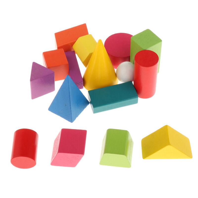 16PCS+Colorful+3D+Shapes+Geometric+Wooden+Toys+Blocks+Kids+Preschool+Toys