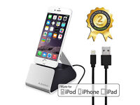 Iphone ipod ipad dock charging stand with lightning cable lead