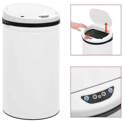 vidaXL Automatic Sensor Dustbin 50L Carbon Steel White Kitchen Waste Dust Bin