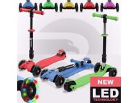 Kids Tri Folding Scooter Push 3 Wheel T Scooters With Wheel Flashing Light