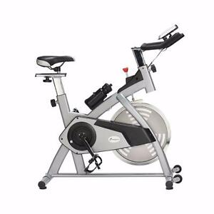 Silver Upright Exercise Bike Cycling Trainer Fitness Adjustable Home Gym Spin bike