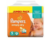 Brand new: Pampers Simply Dry Nappies, Size 5, 132 pk