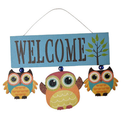 Decorative Wall Hanging Plaque Owl Welcome Sign for Front Door Home Porch Blue