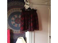 Elasticated Waist, Red, Tartan, Skater Skirt, Size 10