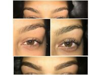 Lash lifting.And eyebrow tinting