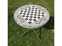 Handmade bespoke mosaic garden table.