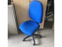 Blue operator chair no arms
