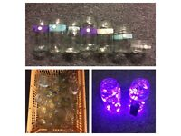 Variety of Shabby Chic Jam Jars, (fairy lights and pebbles) - Wedding, Party