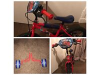 "14"" Spider-Man bike with stabilisers"