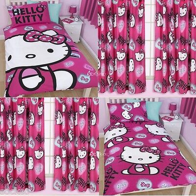 Hello Kitty Ink Single Duvet & Matching Curtains Bedding Set New Gift ()