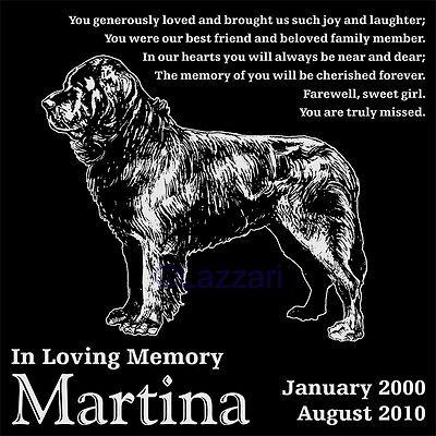 Personalized Newfoundland Dog Pet Memorial 12x12 Granite Headstone Grave Marker