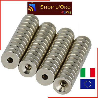 10 Pezzi Lotto Magnete Neodimio 10x3mm con Foro 3mm N50 NdFeB Forato Anello