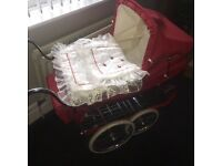Limited addition red & white spotty silver cross dolls pram comes with tray,bag,apron& bedding