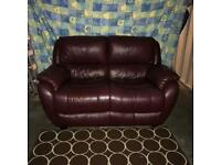Burgundy leather sofa settee