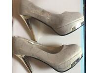 Pair of snakeskin pumps grey with Gold heels Uk 6
