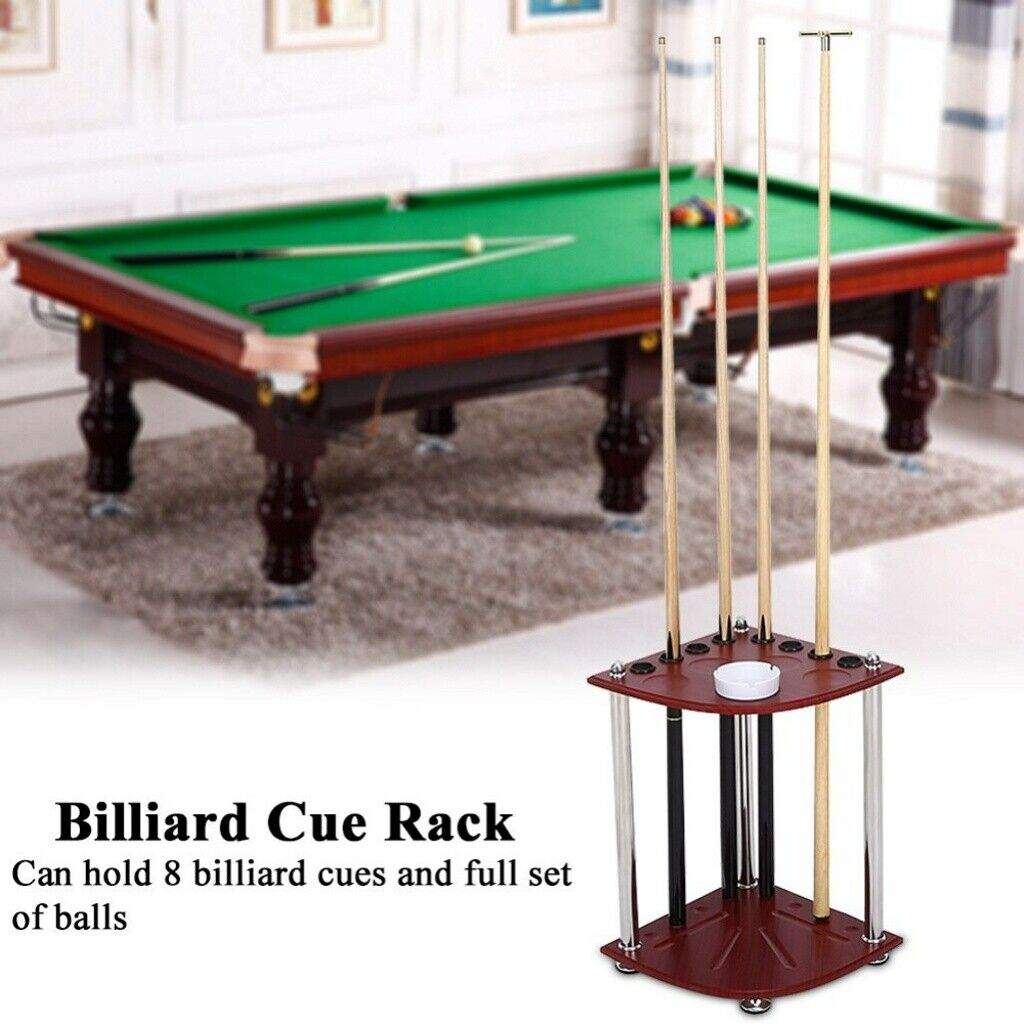 UK Wood Billiard Cue Pool Rack Sticks Balls Storage Floor Stand with Ashtray