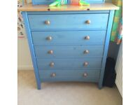5 Piece Children's Bedroom Furniture in Stained Blue Pine