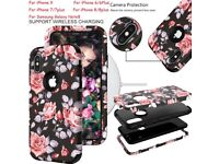 Shockproof Silicone Hard back Flower Phone Case Cover For Apple iPhone 6 7Plus X