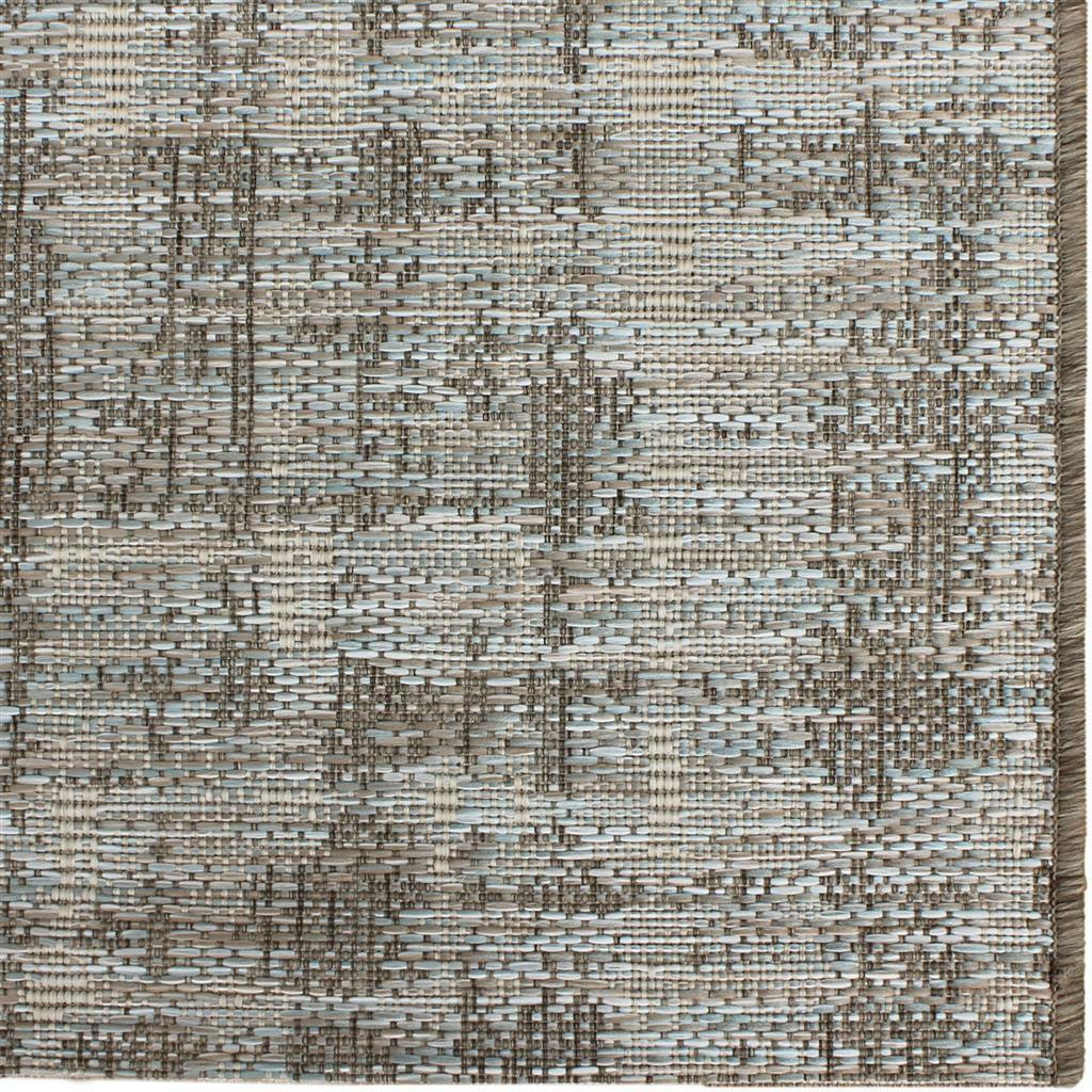 Gentil Outdoor/Indoor Woven Rug   Distressed Design With Shades Of Gray, Steel  Blue U0026 Silver ~